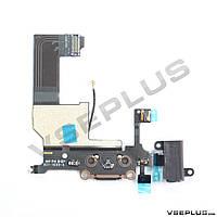 Шлейф Apple iPhone 5, с микрофоном, с разъемом на наушники, с разъемом на зарядку, черный