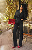 Женский костюм двойка классика черный пиджак с брюками 111/01 ДП