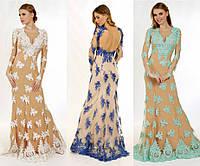 Вечерние платье с V-образным вырезом и открытой спинкой G0755 (р.42-48)