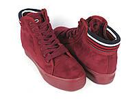 Стильные бордовые ботинки , фото 1