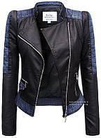 Куртка демисезонная женская эко-кожа с джинсовыми вставками № 102