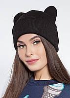 Женская черная шапка с ушками