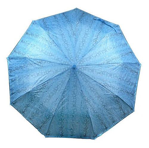 Женский зонт полуавтомат, антиветер 1243-1 голубой/принт