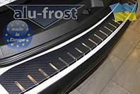 Накладка на бампер с загибом для Opel Vivaro 2001-2014, Renault Trafic (CARBON)