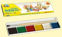 """Акварель Медовая полусухая """"Любимые игрушки"""" 6 цветов,без кисточки, картонная упаковка"""