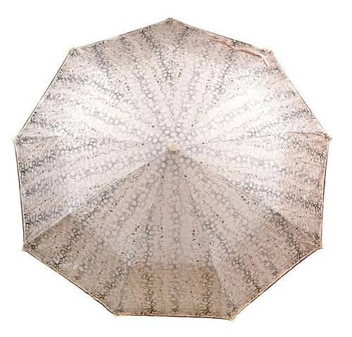 Замечательный женский зонт полуавтомат, антиветер 1243-2 бежевый/принт