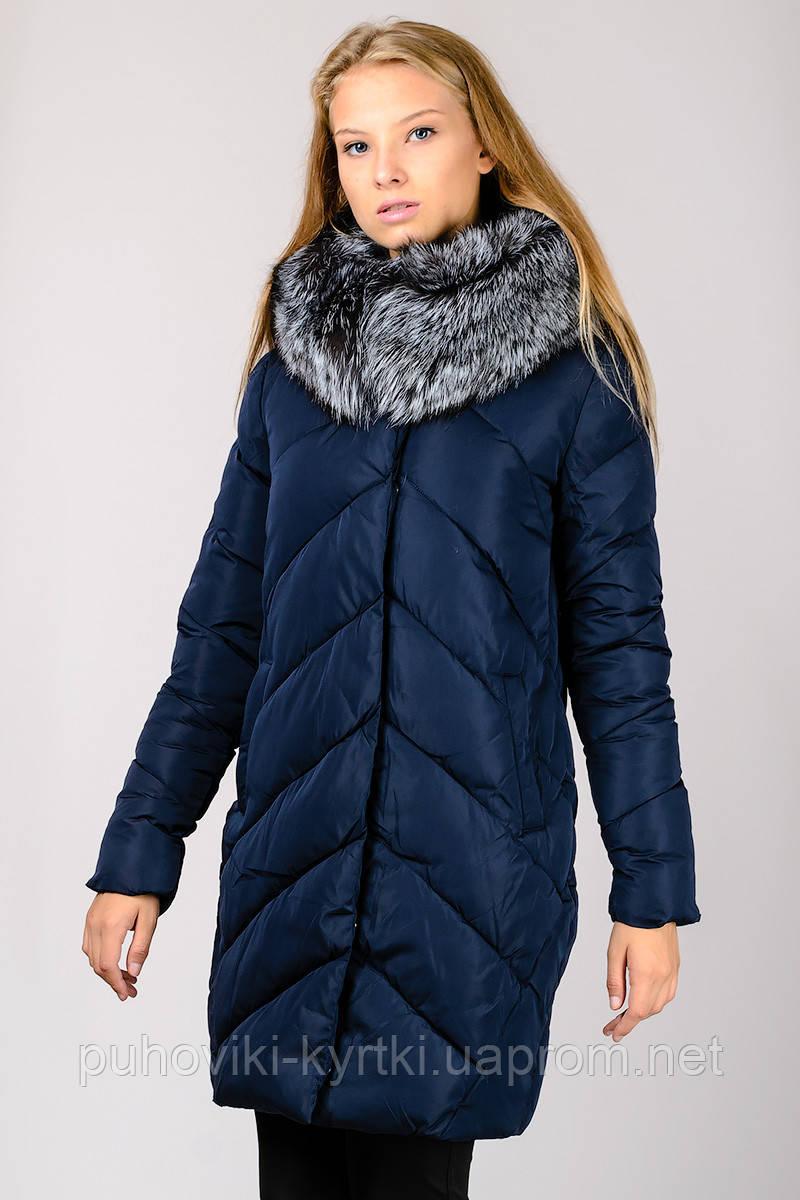 Молодежная куртка пальто пуховик женская с мехом чернобурки и капюшоном  Chanevia - Интернет-магазин