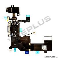 Шлейф Apple iPhone 5C, черный, с разъемом на зарядку, с разъемом на наушники, с микрофоном
