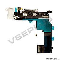 Шлейф Apple iPhone 5S, черный, с разъемом на зарядку, с разъемом на наушники, с микрофоном