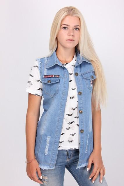 Женские жилетки, кардиганы и накидки джинсовые