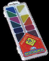 """Акварель Медовая полусухая """"Мозайка"""" 18 цветов, без кисточки, пластиковая упаковка"""
