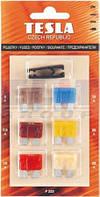Предохранители плоские набор 6 шт с пинцетом TESLA 5A.7.5A.10A.15A.20A