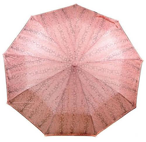 Красивый женский зонт с ветрозащитой, полуавтомат 1243-4 розовый/принт