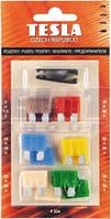 Предохранители плоские флажковые набор 12 шт с пинцетом TESLA