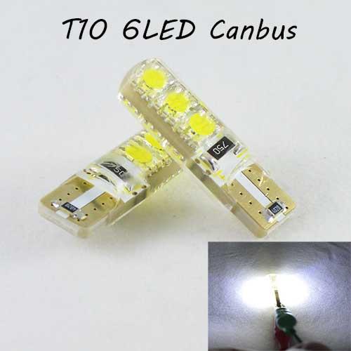 Лед лампа в габарит SLS LED, с обманкой Can шины, цоколь W5W(T10) 6 светодиодов в силиконе 12 В. Белый