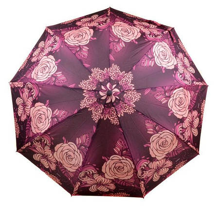 Безупречный женский зонт с ветрозащитой, полуавтомат 756-10 фиолетовый/цветы, фото 2