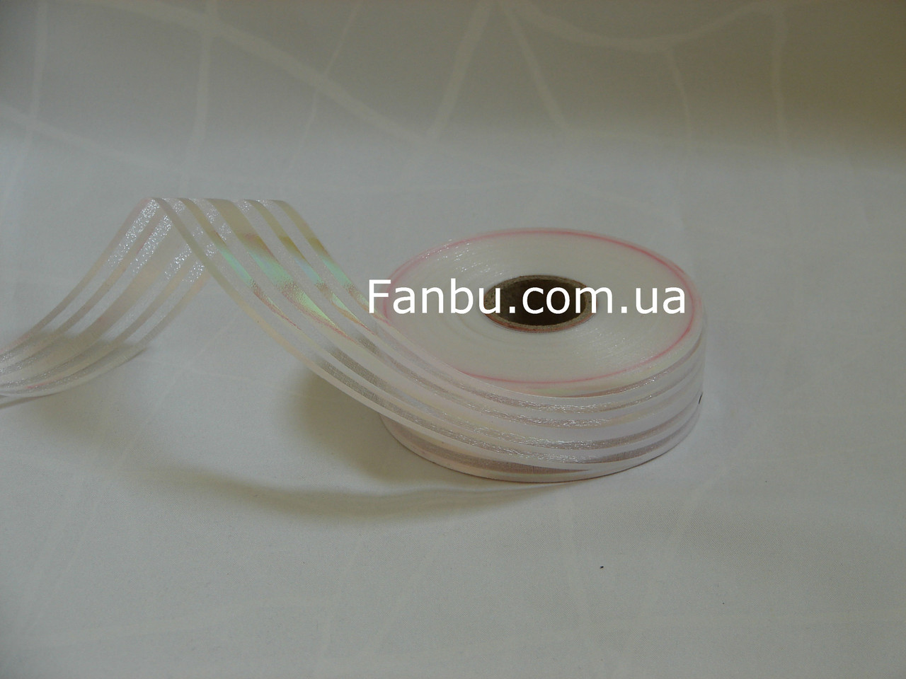 Белая лента для бантов с красивым переливом(1рулон-25ярдов)ширина 3 см, фото 1