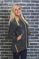 Стеганное демисезонное пальто черный горох, фото 1