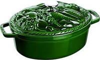 """Кастрюля овальная """"Овощи"""" Staub 29 cм 4,2 л зеленая 1172985"""