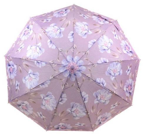 Женский великолепный зонт с ветрозащитой, полуавтомат 756-12 сиреневый/цветы