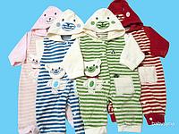 Комбинезон велюровый с капюшоном для новорожденных