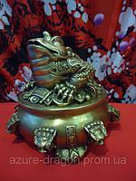 Статуэтка жаба из бронзы трёхлапая на деньгах