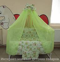 Детское постельное белье в кроватку салатовое Мишка с медом Gold 9в1  120х60см