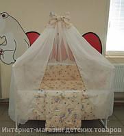 Детское постельное белье в кроватку бежевое Мишка с медом Gold 9 в 1 120х60см