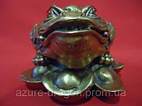 Жаба по фен-шуй трёхлапая статуэтка из бронзы