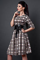Платье мод 381-14 клетка бежевый/черный размер 46, 48, 50 (А.Н.Г.)