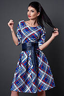 Платье мод 381-17 клетка синий/красный/белый размер 46 (А.Н.Г.)