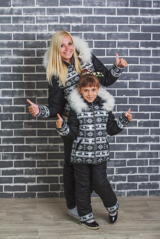 Зимний стеганный костюм детский Олени черный