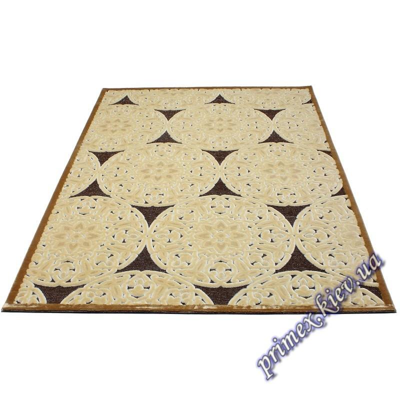 """Акриловый прямоугольный ковер с рельефным рисунком Айс """"Печенье"""", цвет коричневый"""