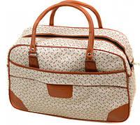 Дорожная сумка 6600-1 среднего размера (46х30х19, см) бежевая из полиэстера