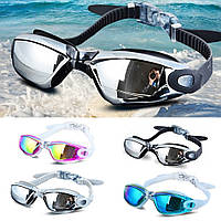 Очки для плавания, водонепроницаемые, синий и черный цвет