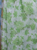 """Гардина № 22 """"Розы"""" зеленые на шифоне"""