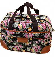 Дорожная сумка 6600-1 среднего размера (46х30х19, см) черная и синяя из полиэстера с цветочным принтом