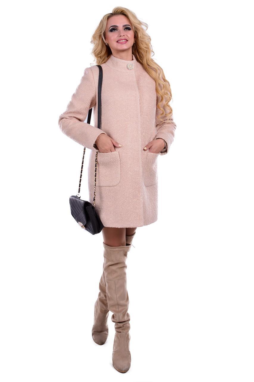 Женское бежевое демисезонное пальто арт. Мелини 0442 - 6784