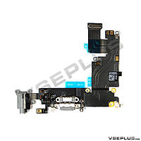 Шлейф Apple iPhone 6 Plus, черный, с разъемом на зарядку, с разъемом на наушники