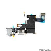 Шлейф Apple iPhone 6, черный, с разъемом на зарядку, с разъемом на наушники