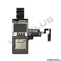 Шлейф HTC T328e Desire X, с разъемом на карту памяти, с разъемом на sim карту, с кнопкой включения