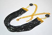 Подарок для женщины на 8 марта- колье из черного бисера -Летучая мышь.