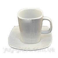 Чашка квадратная чайная 250 мл с блюдцем белая ''HR1314'' 1 шт.