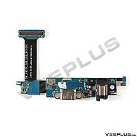 Шлейф Samsung G925F Galaxy S6 Edge, черный, с разъемом на зарядку, с разъемом на наушники