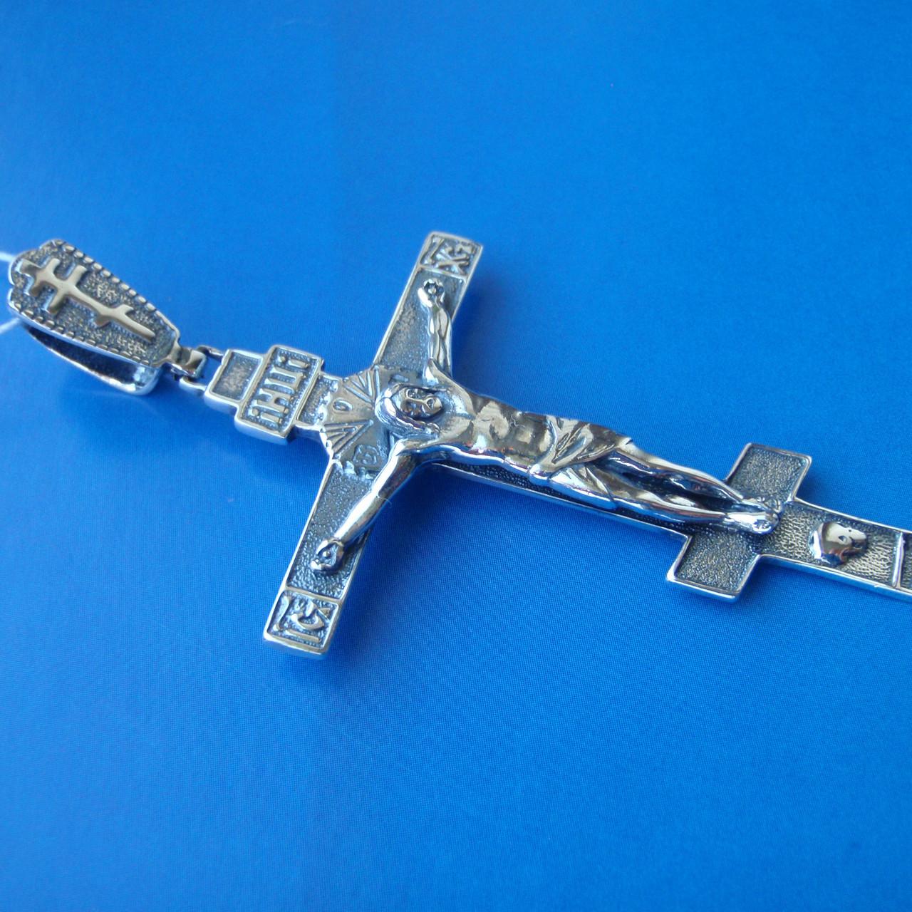 Серебряный крест с объемным распятием, 10 грамм