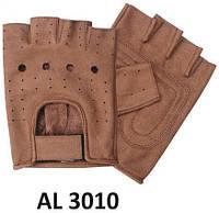 Перчатки кожаные без пальцев коричневые