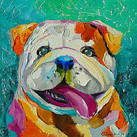 «Улыбчивая собачка» картина маслом