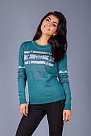 Стильный молодежный свитер с оригинальным орнаментом прямого кроя