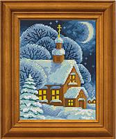 """Схема для вышивания бисером на атласе """"Снег, будто ангела пух от крыла"""" ЕА-015"""