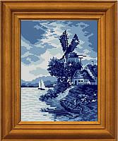 """Схема для вышивания бисером на атласе """"Пейзаж цвета моря"""" ЕА-023"""